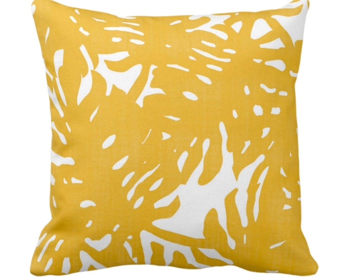 """Palm Silhouette Throw Pillow or Cover Golden/White 14, 16, 18, 20 or 26"""" Sq Pillows/Covers Deep Yellow Tropical/Leaves/Palms Print/Pattern"""