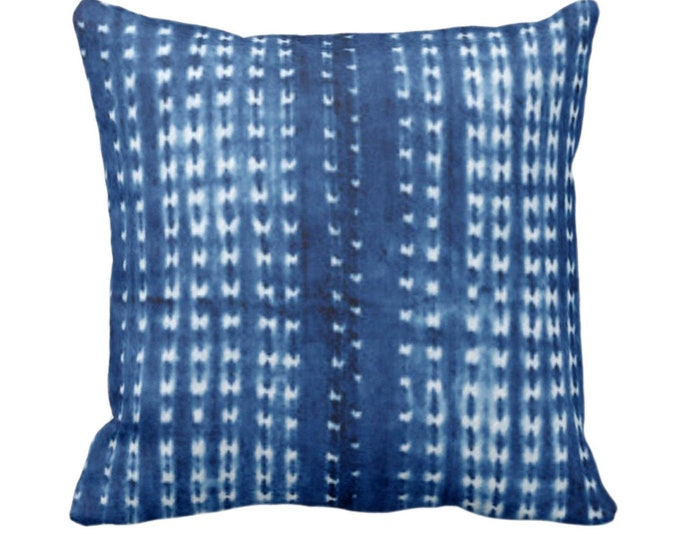 """Indigo Mud Cloth Printed Throw Pillow or Cover, Lines/Dots 14, 16, 18, 20, 26"""" Sq Pillows or Covers, Bright Blue Mudcloth/Stripes/Stripe/Dot"""