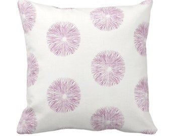 "OUTDOOR Sea Urchin Throw Pillow or Cover, Off-White/Plum 14, 16, 18, 20, 26"" Sq Pillows/Covers Purple/Pink Modern/Starburst/Geometric Print"