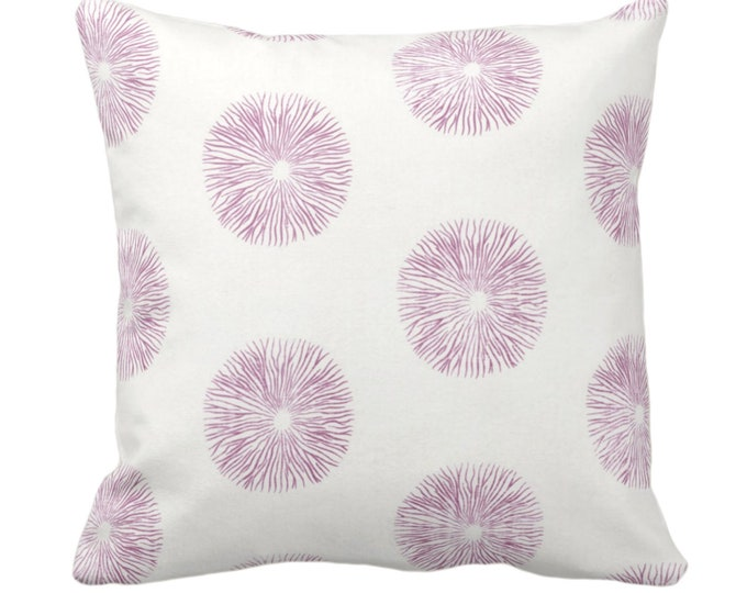 """OUTDOOR Sea Urchin Throw Pillow or Cover, Off-White/Plum 14, 16, 18, 20, 26"""" Sq Pillows/Covers Purple/Pink Modern/Starburst/Geometric Print"""