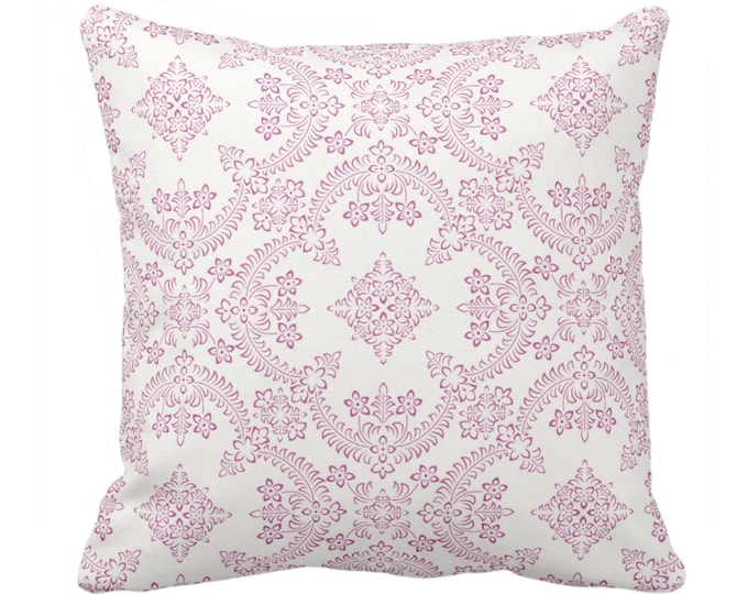 """Priano Tile Print Throw Pillow or Cover, Purple/White 14, 16, 18, 20, 26"""" Sq Pillows or Covers, Bright Pink Floral/Geometric/Trellis Pattern"""