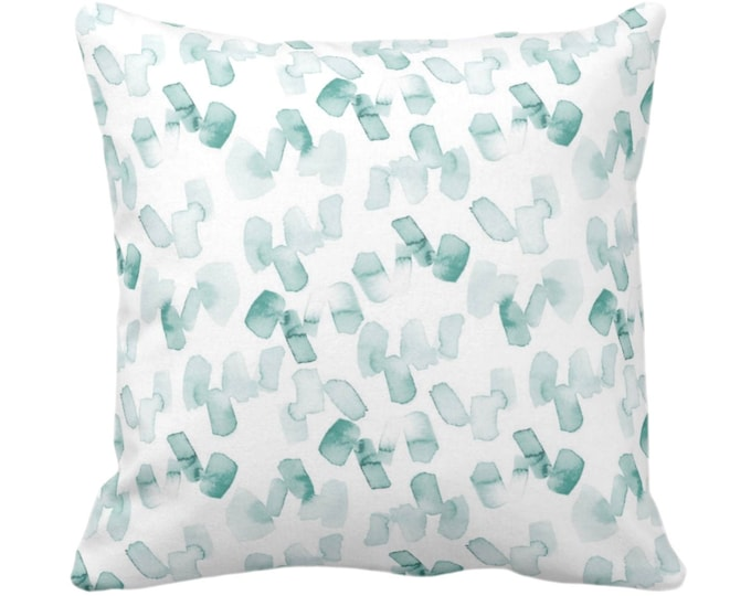 """OUTDOOR SALE/Ready 2 Ship Watercolor Confetti Abstract Throw Pillow or Cover, Lagoon/White 14"""" Sq Pillows/Covers Dusty Blue/Green Print"""
