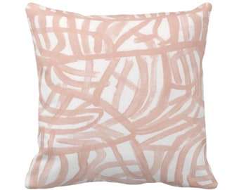 """OUTDOOR Avant Throw Pillow/Cover White/Salmon 14, 16, 18, 20, 26"""" Sq Pillows/Covers Pink/Coral Painted Abstract Modern/Lines/Geometric Print"""