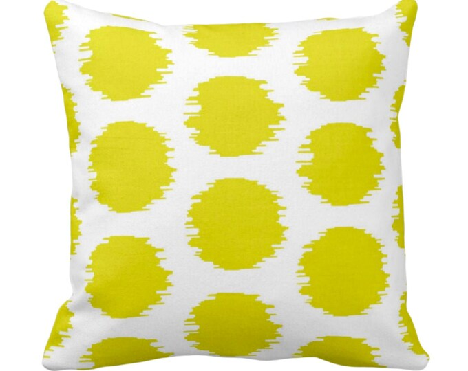 """Ikat Dot Throw Pillow or Cover, Yellow/White 14, 16, 18, 20 or 26"""" Sq Pillows or Covers Bright Scribble/Dots/Spots/Circles/Art Print/Pattern"""