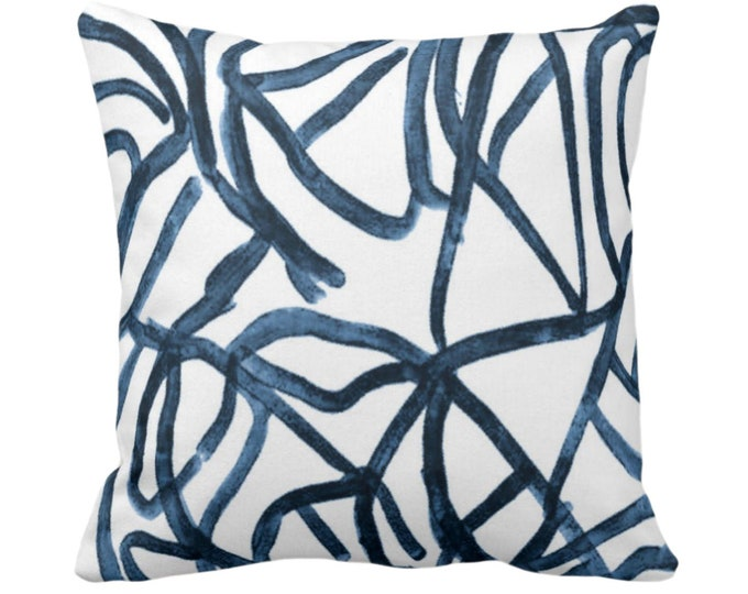 """Abstract Throw Pillow or Cover, White/Slate Blue 14, 16, 18, 20 or 26"""" Sq Pillows/Covers Indigo/Navy Painted Modern/Geometric/Lines Print"""