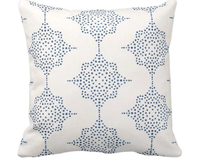 "SALE/READY 2 SHIP Block Print Stars Throw Pillow Cover, Navy & Ivory 18"" Sq Pillow Cover, Dark Blue Blockprint/Boho/Geometric/Star Print"