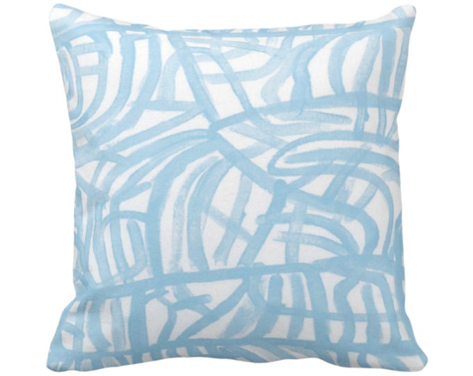 """Avant Throw Pillow or Cover, White/Sky Blue 14, 16, 18, 20, 26"""" Sq Pillows/Covers Light Painted Abstract Modern/Geometric/Geo/Lines Print"""