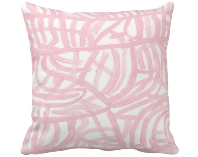 "OUTDOOR Avant Throw Pillow or Cover, White/Blossom 14, 16, 18, 20, 26"" Sq Pillows/Covers Light Pink Painted Abstract Modern/Geometric Print"