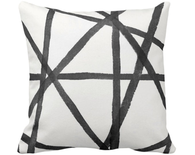"""OUTDOOR Hand-Painted Lines Throw Pillow or Cover, Charcoal/White 14, 16, 18, 20 or 26"""" Sq Pillows/Covers, Gray/Black Channels/Stripes/Print"""