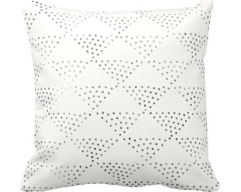 "Batik Triangles Print Throw Pillow or Cover, Off-White/Gray/Black 14, 16, 18, 20, 26"" Sq Pillows/Covers, Geometric/Geo/Tribal/Hmong/Design"