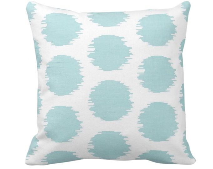 "Ikat Dot Throw Pillow or Cover, Soft Teal/White 14, 16, 18, 20, 26"" Sq Pillows/Covers, Light Blue/Green Dots/Spots/Circles/Art Print/Pattern"
