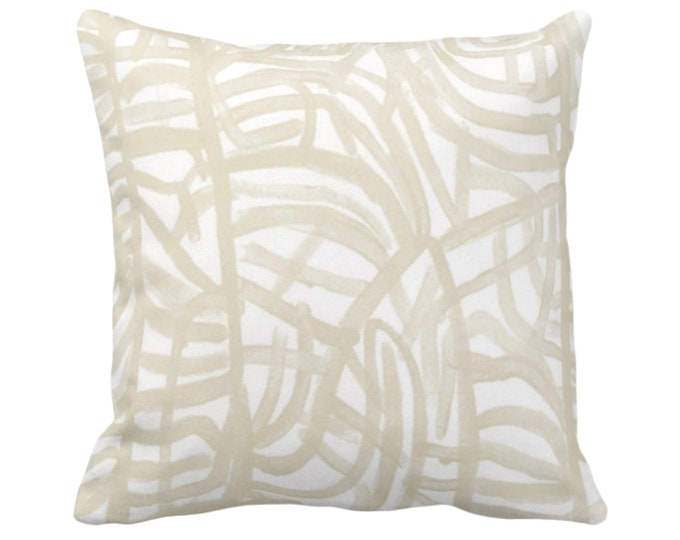 "OUTDOOR Avant Throw Pillow/Cover White/Cream 14, 16, 18, 20, 26"" Sq Pillows/Covers Ivory/Off-White Painted Abstract Modern/Geometric Print"
