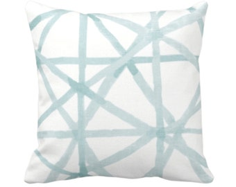 """Painted Lines Throw Pillow or Cover, White/Seaglass 14, 16, 18, 20, 26"""" Sq Pillows/Covers, Blue/Green Modern/Geometric/Geo/Abstract Print"""
