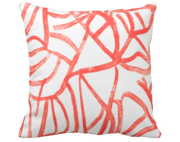 """Abstract Throw Pillow or Cover, White & Coral 14, 16, 18, 20, 26"""" Sq Pillows/Covers Red/Orange/Salon Painted Modern/Geometric/Lines Print"""