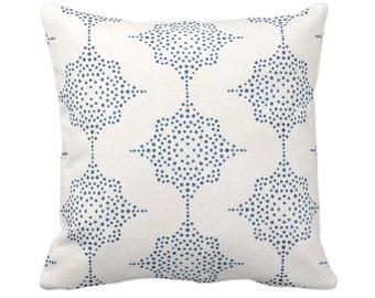 "OUTDOOR Block Print Stars Throw Pillow or Cover, Navy & Ivory 14, 16, 18, 20, 26"" Sq Pillows/Covers, Dark Blue Geometric/Geo/Star/Blockprint"