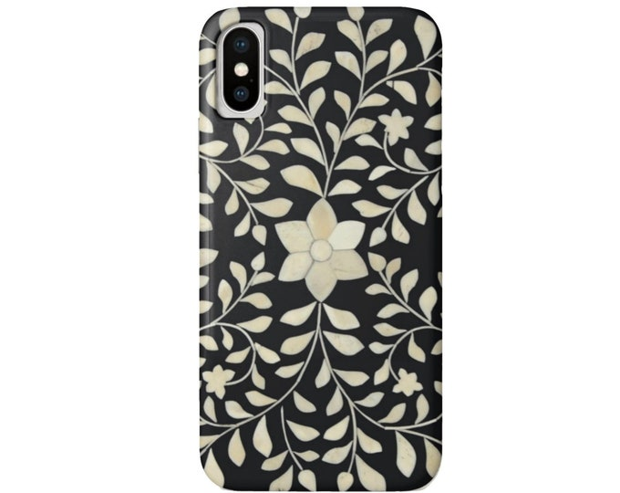 Bone Inlay Design iPhone 11, XS, XR, X, 7/8, 6/6S P/Plus/Max Snap Case or Tough Protective Cover, FAUX Black/White/Ivory Batik/Boho Floral