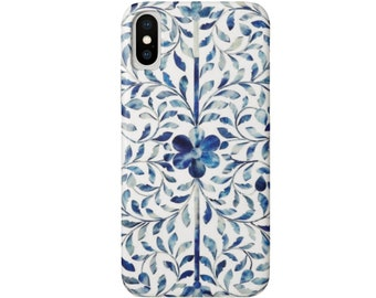Bone Inlay Design iPhone 11, XS, XR, X, 7/8, 6/6S Pro/Max/P/Plus Snap Case or Tough Protective Cover, FAUX Blue/White/Ivory Boho Design