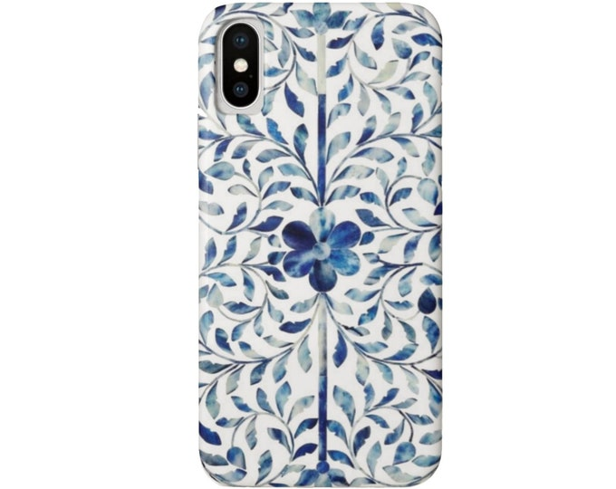 Bone Inlay Design iPhone XS, Max, XR, X, 7/8, 7/8P, 6/6S or 6 Plus Snap Case or Tough Protective Cover, FAUX Blue/White/Ivory Boho Design