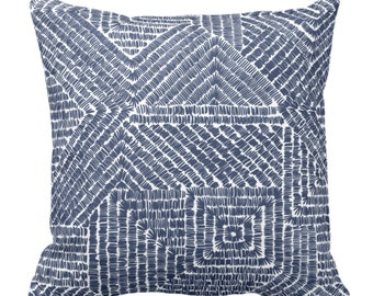 "OUTDOOR Tribal Geo Throw Pillow or Cover, Navy 14, 16, 18, 20, 26"" Sq Pillows/Covers Dark Blue/White Scratch Geometric/Tribal/Batik/Geo/Boho"
