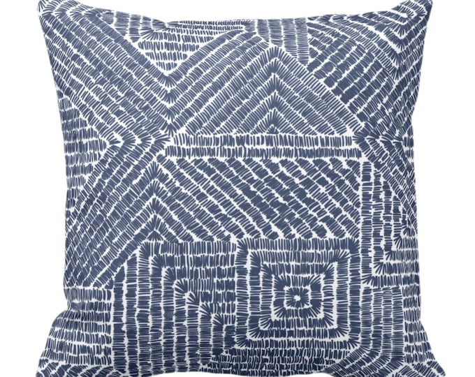 "SALE/READY 2 SHIP Tribal Geo Throw Pillow Cover, Navy 20"" Sq Covers, Dark Blue & White Scratch Geometric/Tribal/Batik/Geo/Boho Print/Pattern"