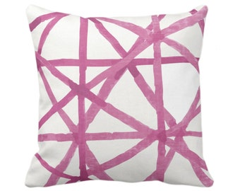 "OUTDOOR Watercolor Geo Throw Pillow/Cover, White/Bright Pink 14, 16, 18, 20, 26"" Sq Pillows/Covers Hand Painted/Modern/Lines/Geometric Print"
