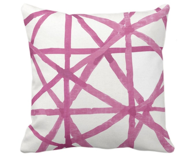 """OUTDOOR Watercolor Geo Throw Pillow/Cover, White/Bright Pink 14, 16, 18, 20, 26"""" Sq Pillows/Covers Hand Painted/Modern/Lines/Geometric Print"""