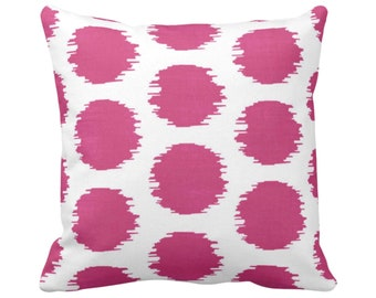 """OUTDOOR Ikat Dot Throw Pillow or Cover, Magenta/White 14, 16, 18, 20, 26"""" Sq Pillows/Covers Geometric/Geo/Spots/Boho/Tribal Print/Pattern"""