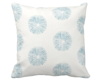 """OUTDOOR Sea Urchin Throw Pillow/Cover, Off-White/Teal 14, 16, 18, 20, 26"""" Sq Pillows/Covers, Blue/Green Modern/Starburst/Geometric/Geo Print"""