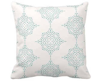 """OUTDOOR Block Print Stars Throw Pillow or Cover, Teal/Ivory 14, 16, 18, 20, 26"""" Sq Pillows/Covers, Blue/Green Geometric/Blockprint/Star"""