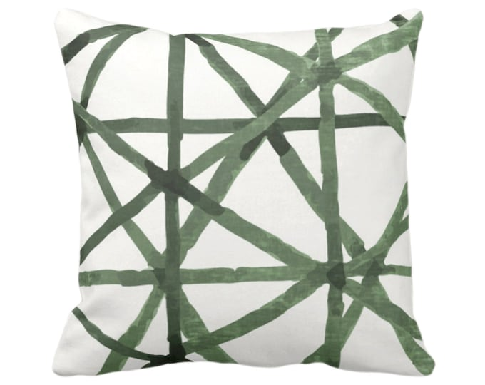"""Painted Lines Throw Pillow or Cover, White/Kale 14, 16, 18, 20, 26"""" Sq Pillows Covers, Dark Green Modern/Star/Geometric/Geo/Abstract Print"""