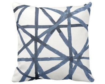 """OUTDOOR - READY 2 SHIP Sale Painted Lines Throw Pillow Cover, White/Navy 20"""" Sq Covers, Dark Blue Modern/Star/Geometric/Geo Print"""