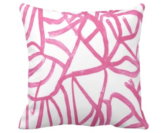 "Abstract Throw Pillow or Cover, White/Magenta 14, 16, 18, 20 or 26"" Sq Pillows/Covers Bright Pink Painted Modern/Geometric/Lines Print"