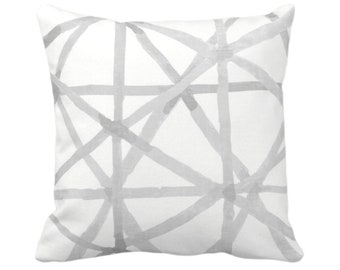 "OUTDOOR Watercolor Geo Throw Pillow or Cover White/Gray 14, 16, 18, 20, 26"" Sq Pillows/Covers Modern Painted Lines/Starburst/Geometric Print"