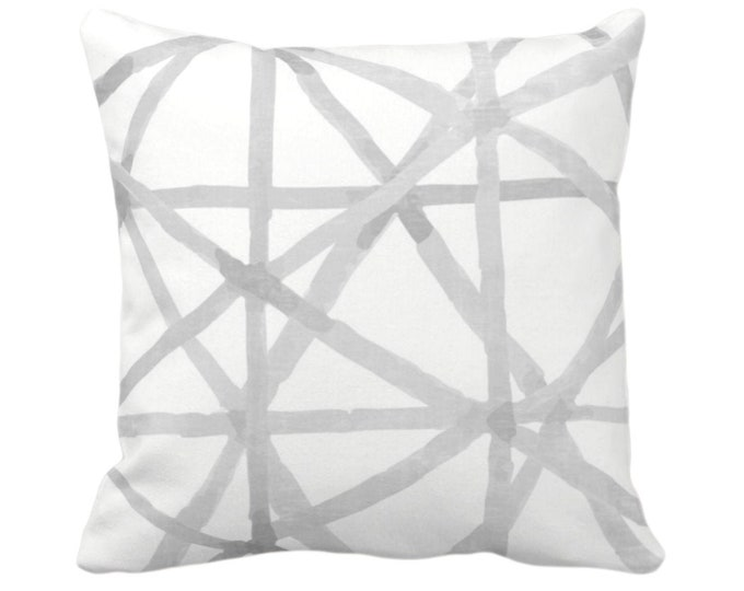 """OUTDOOR Watercolor Geo Throw Pillow or Cover White/Gray 14, 16, 18, 20, 26"""" Sq Pillows/Covers Modern Painted Lines/Starburst/Geometric Print"""