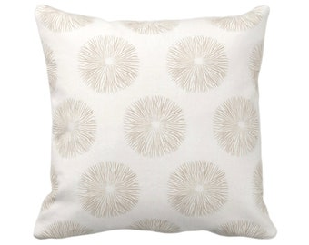 """OUTDOOR Sea Urchin Throw Pillow or Cover, Sand/Off-White 14, 16, 18, 20, 26"""" Sq Pillows/Covers, Beige/Tan Modern/Starburst/Geometric Print"""