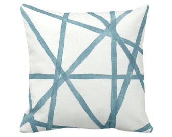 "OUTDOOR Hand-Painted Lines Throw Pillow or Cover, Sea/White 14, 16, 18, 20, 26"" Sq Pillows/Covers, Dusty Aqua/Blue Channels/Stripes/Print"