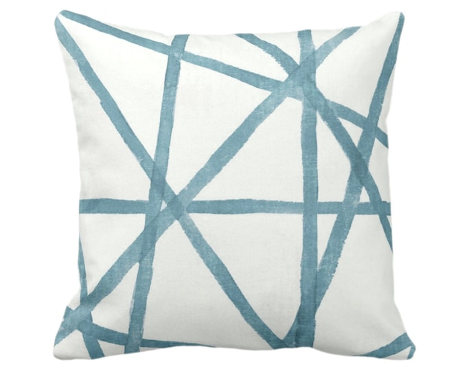 """OUTDOOR Hand-Painted Lines Throw Pillow or Cover, Sea/White 14, 16, 18, 20, 26"""" Sq Pillows/Covers, Dusty Aqua/Blue Channels/Stripes/Print"""