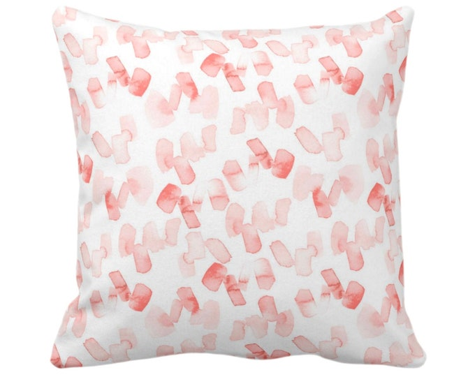 """OUTDOOR Watercolor Confetti Throw Pillow or Cover, Coral/White 14, 16, 18, 20, 26"""" Sq Pillows/Covers, Modern/Abstract Hand-Painted Art Print"""