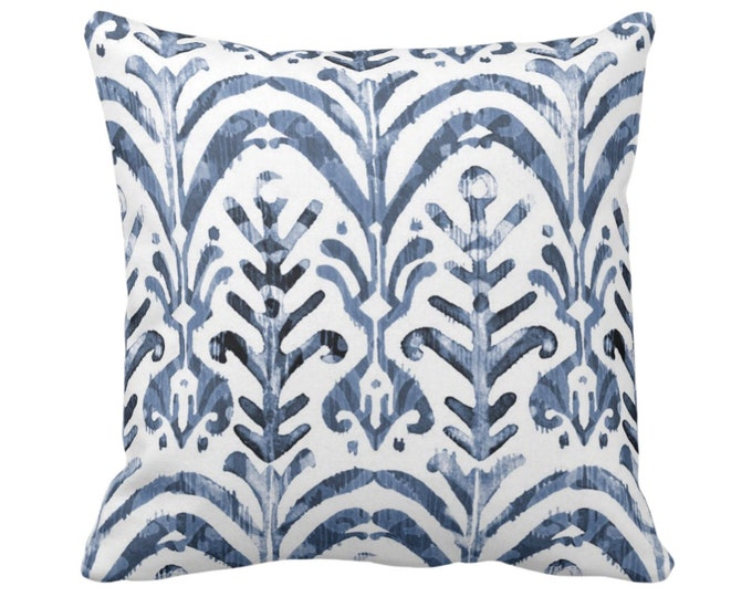 "OUTDOOR Watercolor Print Throw Pillow Cover, Navy Blue/White 16"" Sq Pillow Covers, Hand-Dyed Effect Dusty Ikat Pattern"