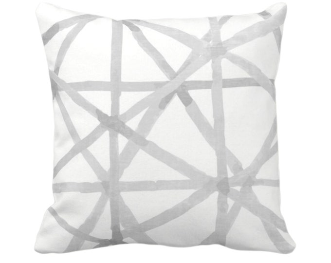 "Painted Lines Throw Pillow or Cover, White/Smoke 14, 16, 18, 20, 26"" Sq Pillows/Covers, Gray Modern/Starburst/Geometric/Geo/Abstract Print"