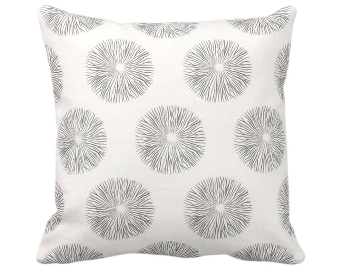 """Sea Urchin Throw Pillow or Cover, Charcoal/Off-White 14, 16, 18, 20, 26"""" Sq Pillows/Covers, Black/Gray Modern/Starburst/Geometric/Geo Print"""