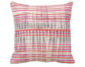 "OUTDOOR Thai Batik PRINTED Throw Pillow or Cover Off-White/Indigo/Pink/Orange 14, 16, 18, 20"" Sq Pillows/Covers Vintage Hmong/Tribal Print"