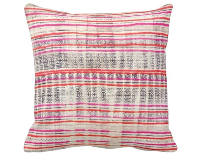 "OUTDOOR Printed Thai Batik Print Throw Pillow or Cover Off-White/Indigo/Pink/Orange 14, 16, 18, 20"" Sq Pillows/Covers Vintage Hmong/Tribal"