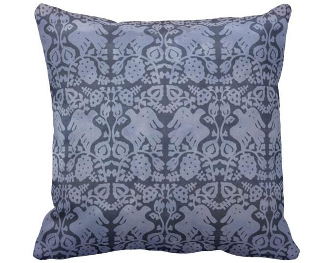"OUTDOOR Block Print Bird Floral Throw Pillow or Cover, Navy 14, 16, 18, 20 or 26"" Sq Pillows/Covers, Dark Blue/White Blockprint/Boho"