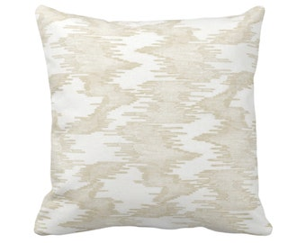 """OUTDOOR Ikat Print Throw Pillow or Cover, White/Cream 14, 16, 18, 20, 26"""" Sq Pillows/Covers, Abstract/Modern/Tribal/Boho Stripes Pattern"""