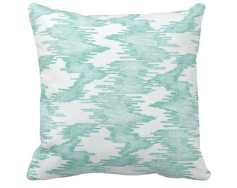 """Ikat Print Throw Pillow or Cover, Jade/White 14, 16, 18, 20, 26"""" Sq Pillows/Covers Abstract/Waves/Lines/Modern/Geometric/Geo/Lines Pattern"""