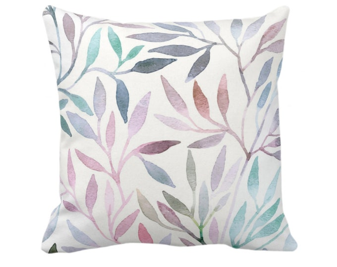 """OUTDOOR Watercolor Stems Throw Pillow/Cover, Multi-Colored Pastels Organic Pattern 14, 16, 18, 20, 26"""" Sq Pillows/Covers, Purple/Pink/Blue"""