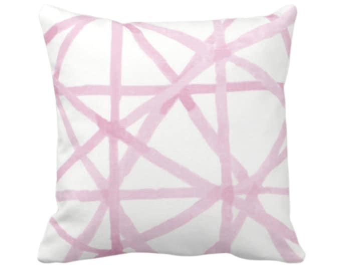 """OUTDOOR Watercolor Geo Throw Pillow or Cover, White/Pink 14, 16, 18, 20, 26"""" Sq Pillows/Covers Hand Painted Modern/Lines/Geometric/Geo Print"""