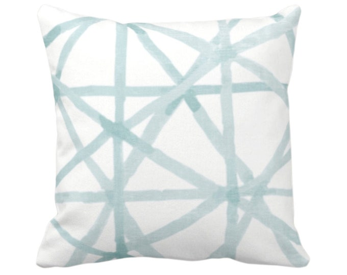 """OUTDOOR Painted Lines Throw Pillow or Cover, White/Seaglass 14, 16, 18, 20, 26"""" Sq Pillows/Covers Blue/Green Modern/Star/Geometric/Geo Print"""