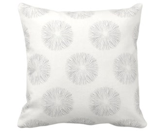 "OUTDOOR Sea Urchin Print Throw Pillow or Cover, Smoke/Off-White 14, 16, 18, 20, 26"" Sq Pillows/Covers Gray Modern/Starburst/Geo/Geometric"